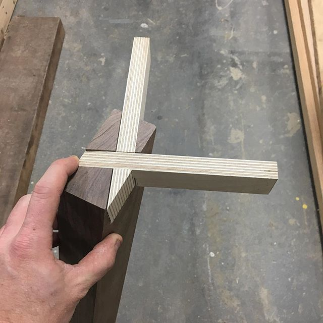 Mocking up a joint for a table base. #joinery#solidwood#walnut#angles#woodworking