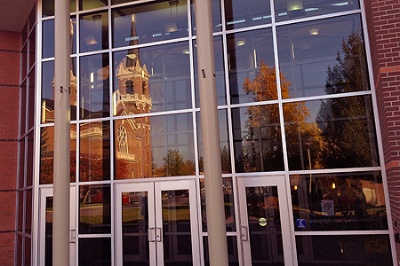 The doors to the Jepson Center, Gonzaga University School of Business. Photo courtesy of Gonzaga University.