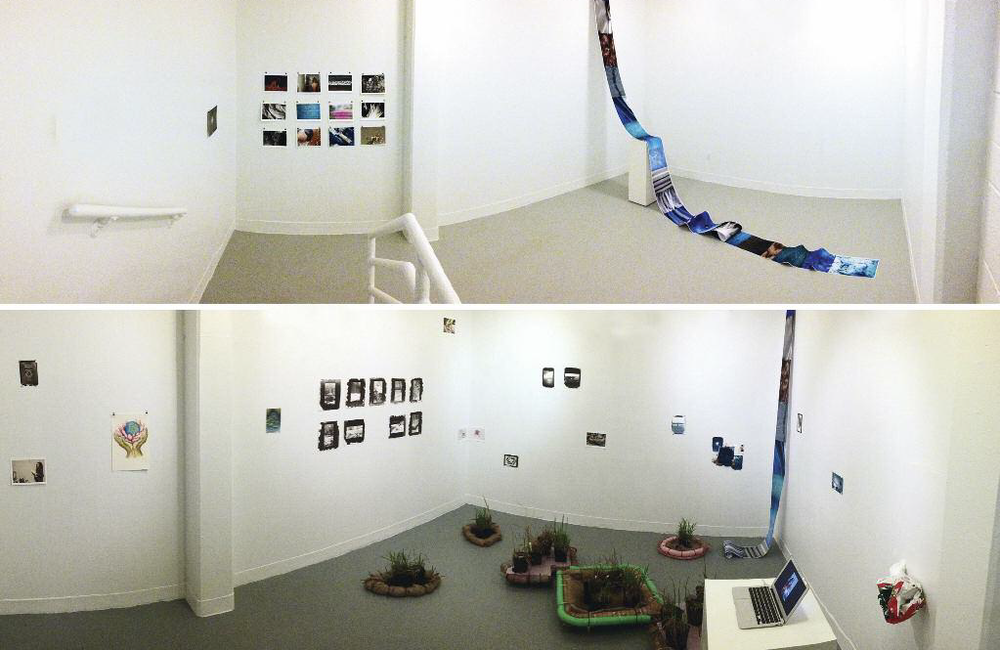 Two separate installations in the Experiment Space gallery, studio art program, Loyola Hall, Fairfield University. Top view: student work in a water focused course exhibition, Exposing Water, Digital Photography. Bottom view: Fair Weather: The Wetland Project with artist Mary Mattingly.