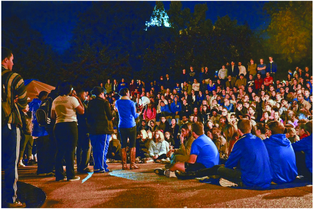 Student protesters at the campus teach-in. Photo courtesy of Saint Louis University.