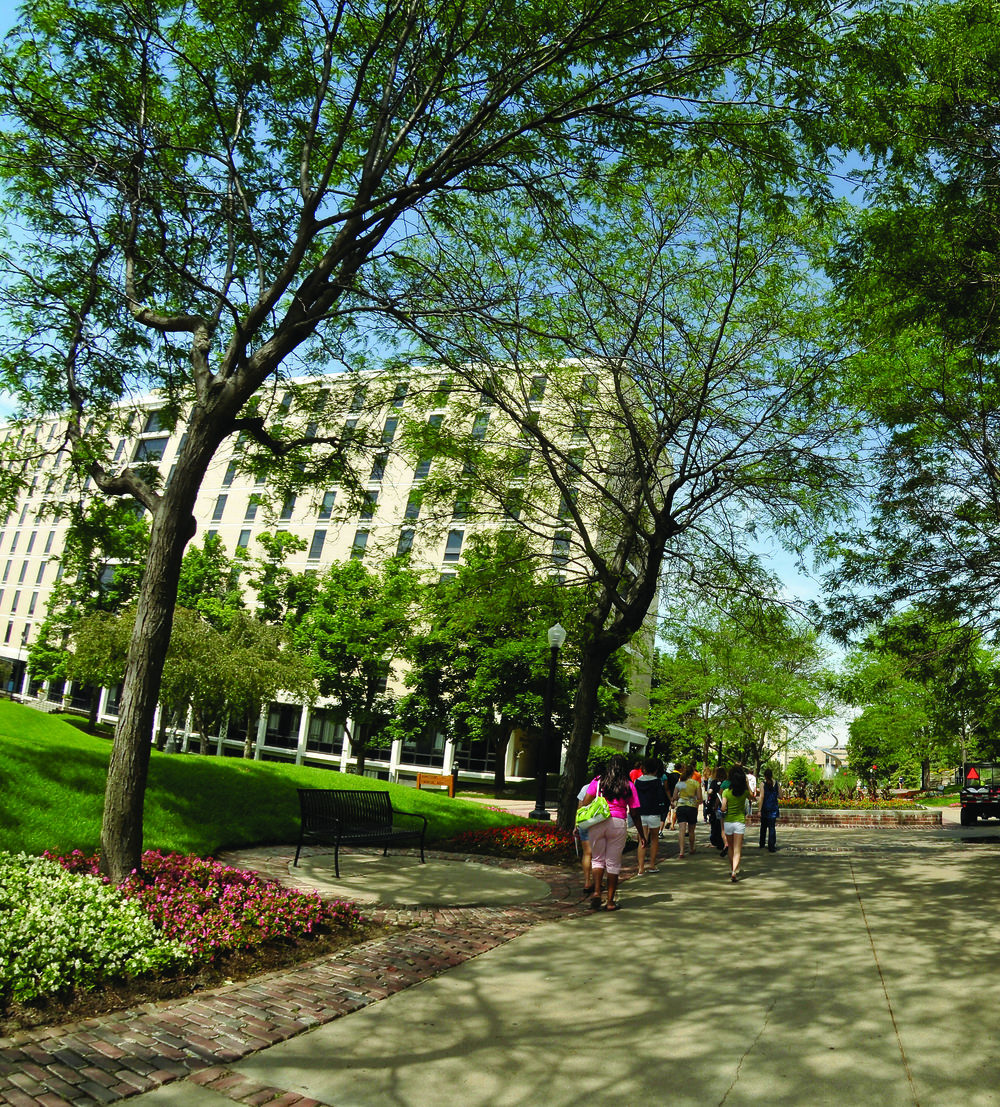 Students walking on the campus of Creighton University. Photo courtesy of the Creighton University.