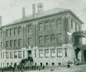 The Garrand Building, Seattle University's first building, circa 1907.