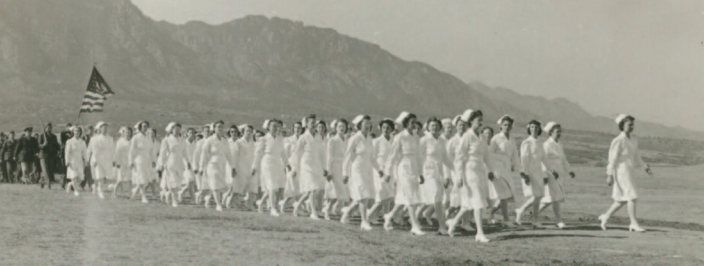 "The ""Fighting 50th""nursing cadets training in Colorado in 1941 before deploying to England."