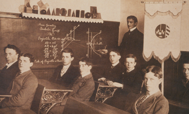 A humanities class in 1902 when Seattle University was a combined college and preparatory high school.