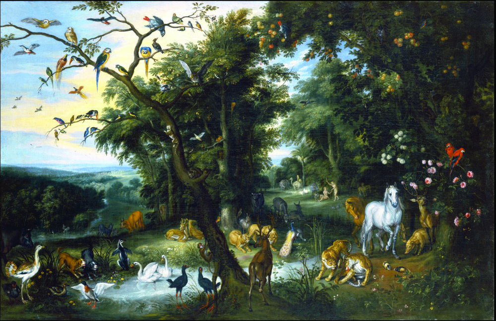 The Garden of Eden, by Jan Brueghel the Elder. Circa 1655 and circa 1661. Izaak van Oosten [Public domain], via Wikimedia Commons