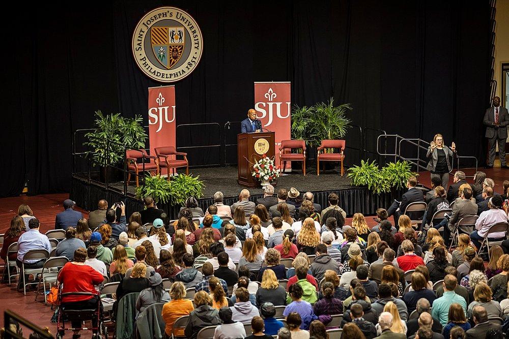 U.S. Congressman John Lewis (D-Ga) visits St. Joseph's University April 2018. Photo featured courtesy of Saint Joseph's University.