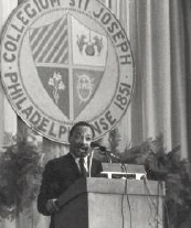 Dr. Martin Luther King , Jr. during his 1967 address at Saint Joseph's University.
