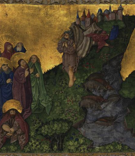 Medieval illumination of Jesus exorcizing the Gerasene demoniac from the Ottheinrich Folio