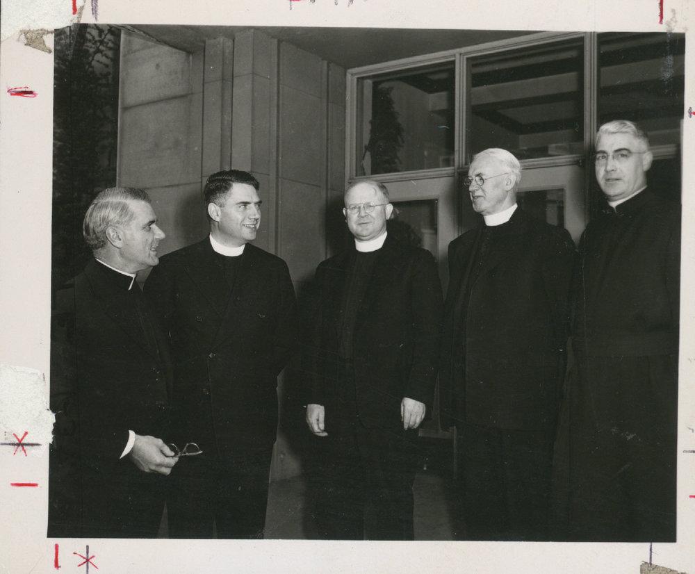 Jesuits re-founders of the 1930s, (l-r) R. Nichols, S.J., A. Lemieux, S.J., J. McGoldrick, S.J., D. Reidy, S.J., H. Peronteau, S.J.