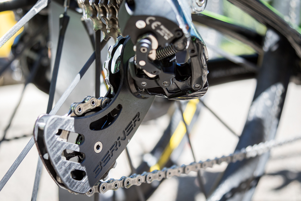 Cannondale-Drapac use wacky derailleur pulleys. However, according to Cannondale, their drivetrain tweaks and hacks (Massive 17t CeramicSpeed pulleys/bearings, with a freshly waxed chain) saves 7 watts over standard kit. Not bad.
