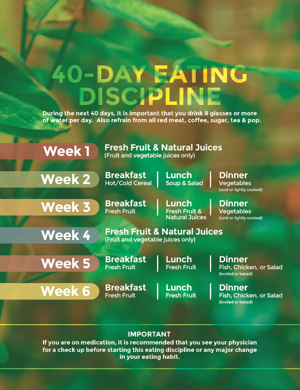 If you are in need of the eating discipline in text, click here