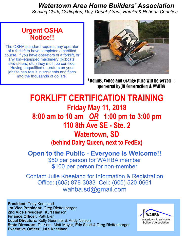 Forklift Certification Training — Watertown Area Home Builder\'s ...
