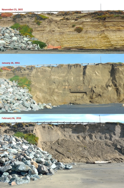 Extreme waves during this 2015-2016 El Niño result in cliff erosion at Ocean Beach, CA. A major road sits atop this cliff (Photo credit: Alex Snyder, Pat Limber, Christie Hegermiller, USGS).