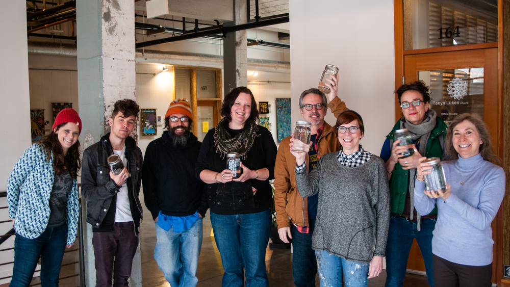 [ L to R ] Sara Sjol, Jesse Narens, Tim Combs, Jeni Lee, Jon Whippich, Karen Wippich, Thérèse Murdza + Jane Levy-Cambell
