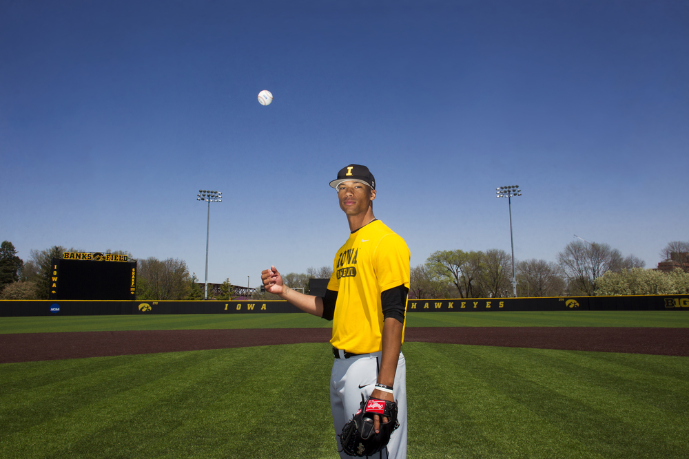 Iowa all-Big Ten Conference pitcher Blake Hickman poses for a photo at Duane Banks Field on Thursday, April 23, 2015. Hickman was drafted by the Chicago White Sox in June.