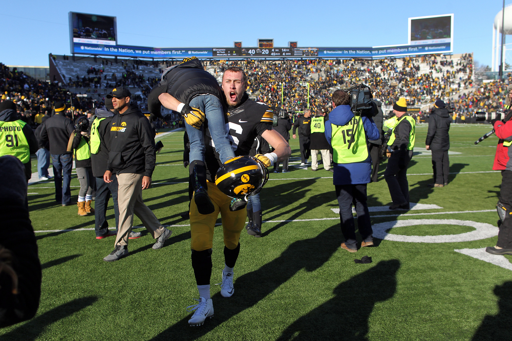 Iowa's George Kittle celebrates the Hawkeyes' 40-20 win over Purdue at Kinnick Stadium.