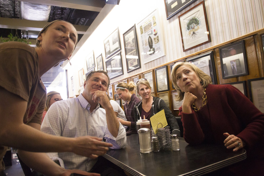 Democratic senate candidate Bruce Braley and former Secretary of State Hillary Clinton order pie shakes at Hamburg Inn.