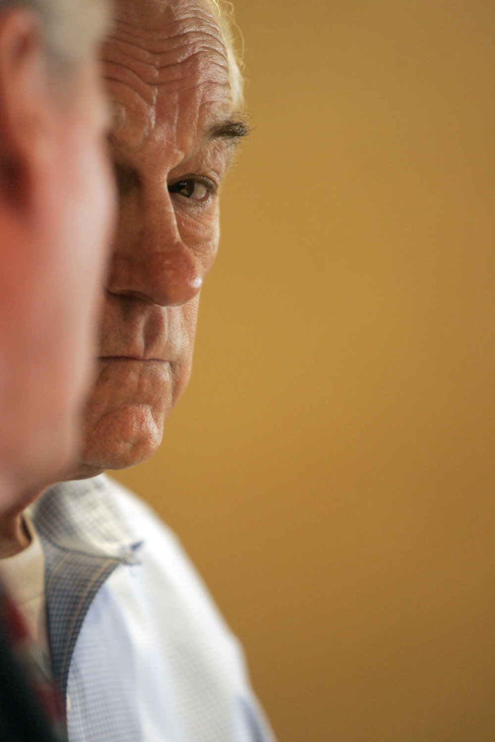 Rep. Ron Paul, R-Texas, waits to speak at a meet and greet in Iowa City.