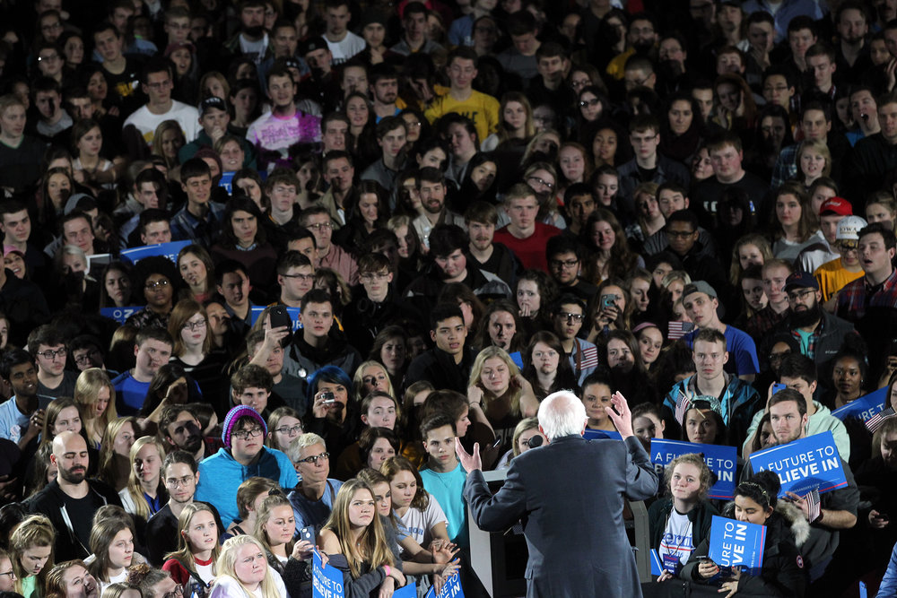 Democratic presidential candidate Bernie Sanders speaks to a crowd at the UI Field House.
