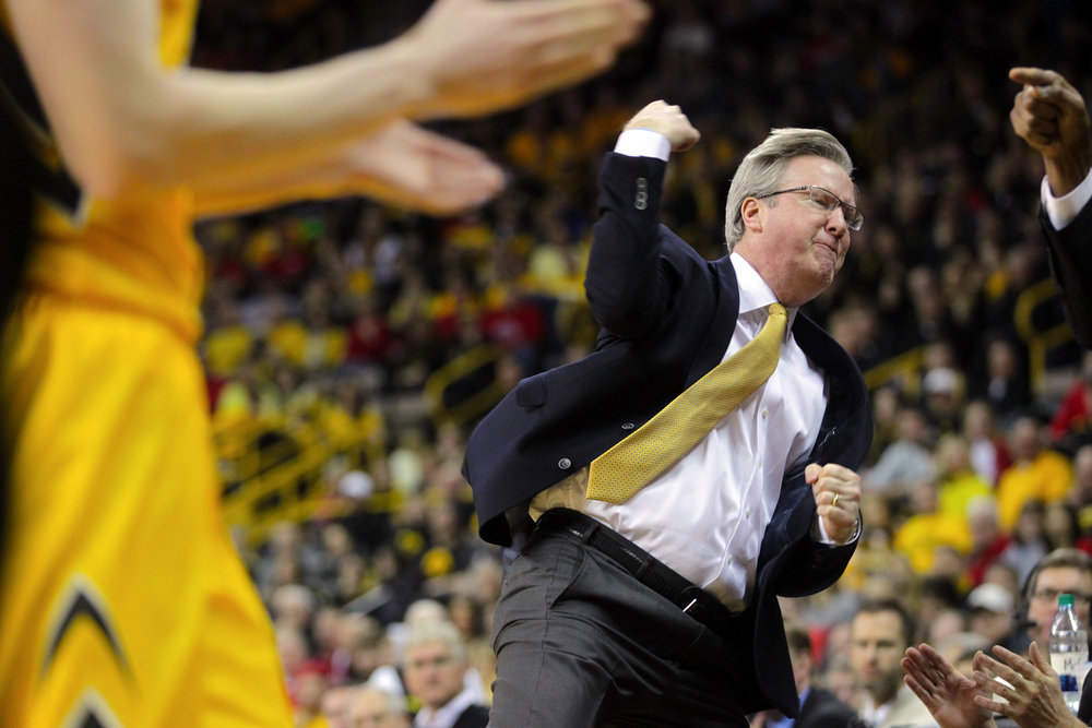 Iowa head coach Fran McCaffery reacts as an out of bounds call goes in favor of Wisconsin during their game at Carver-Hawkeye Arena.