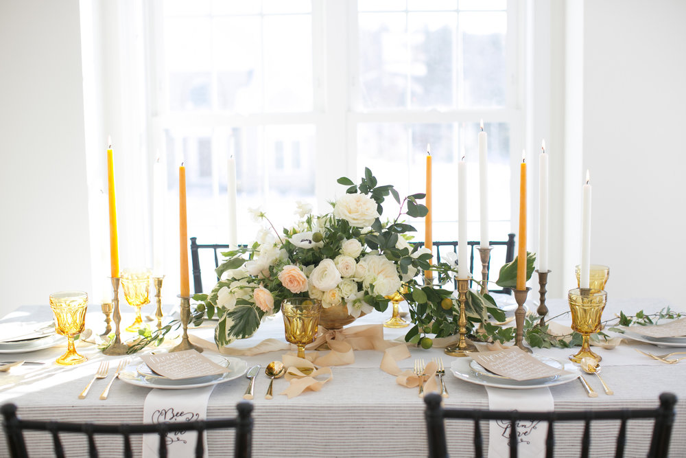The tablescape setup by Jess