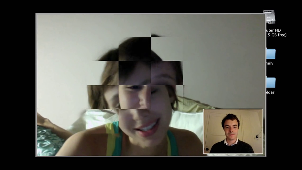 The distortion of Emily's video chat connection creates an interesting and subtle foreshadowing of her fate,