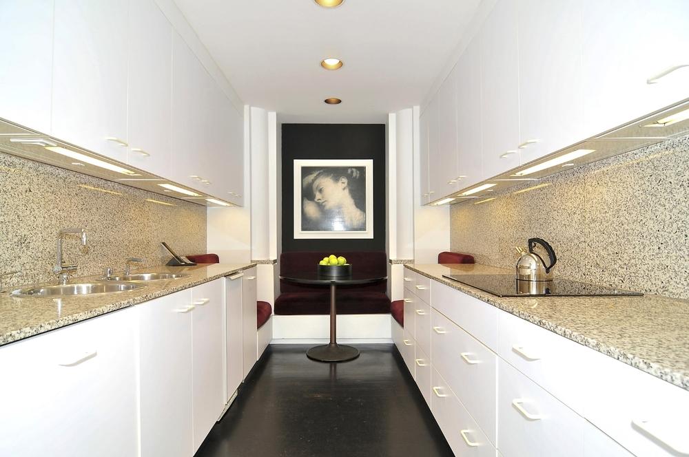 Contemporary White Galley Kitchen