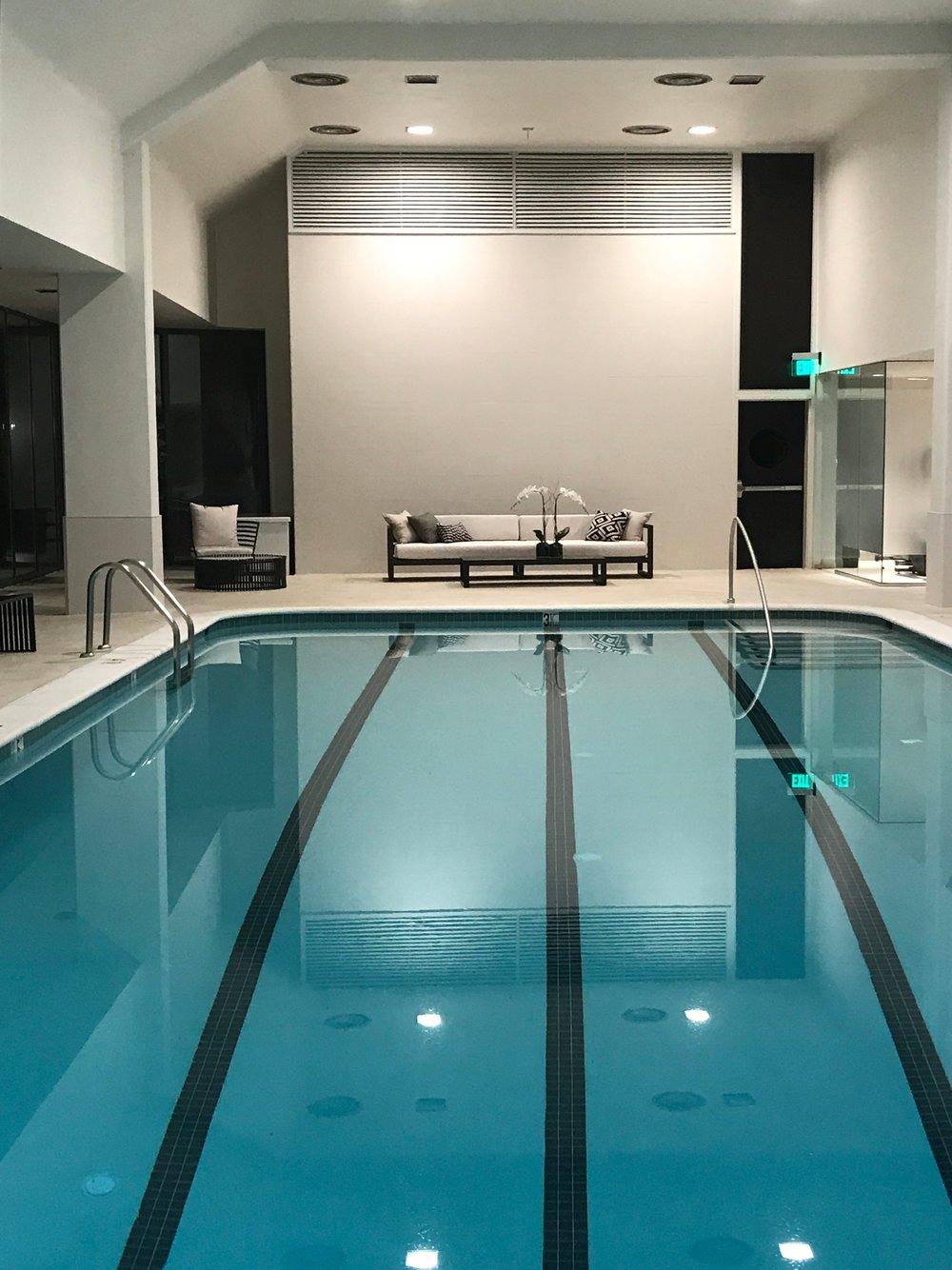 Indoor Pool with Doors opening to Outdoor Deck