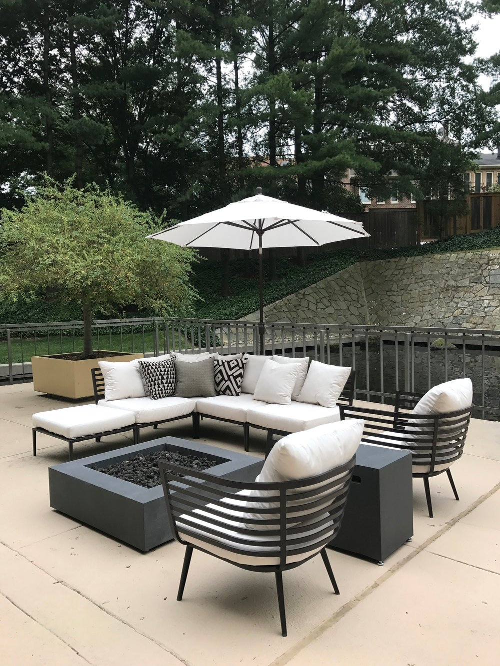 Lounge Area with Fire Pit on Pool Deck