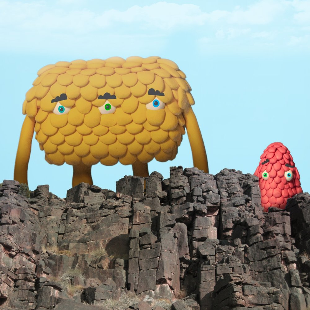 Giant creatures on the cliff.