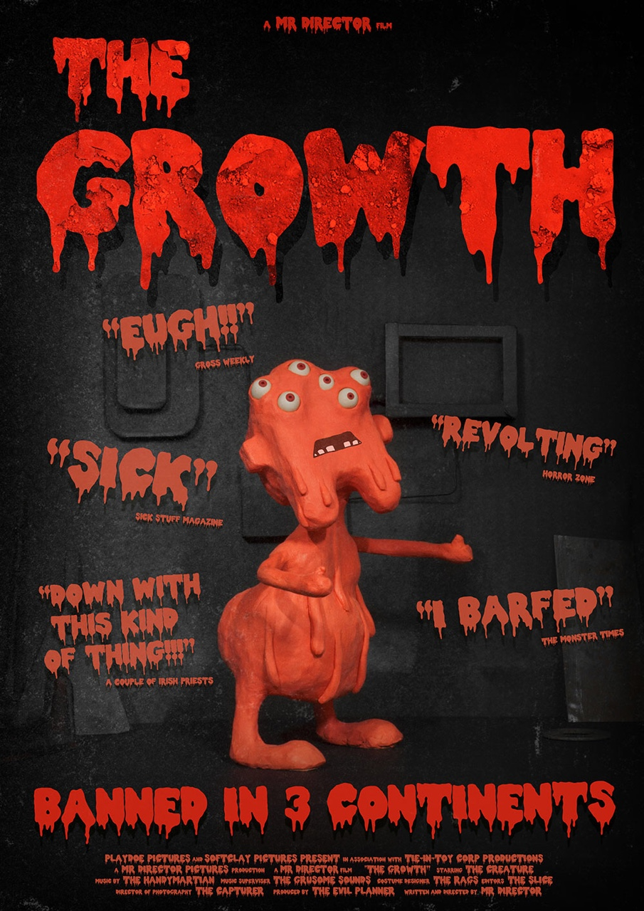 The poster for 'The Growth', a film within my short film 'Mr Director'. Watch the full animation here:  https://vimeo.com/122625153