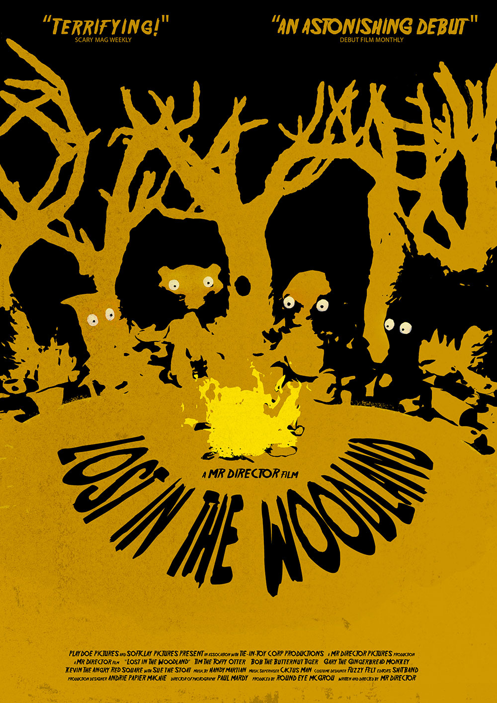 The poster for 'Lost In The Woodland', a film within my short film 'Mr Director'.  Watch the full animation here:  https://vimeo.com/122625153