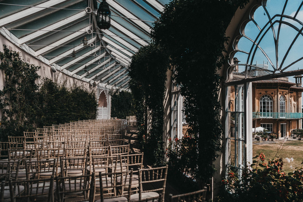 sezincote orangery ready for a wedding