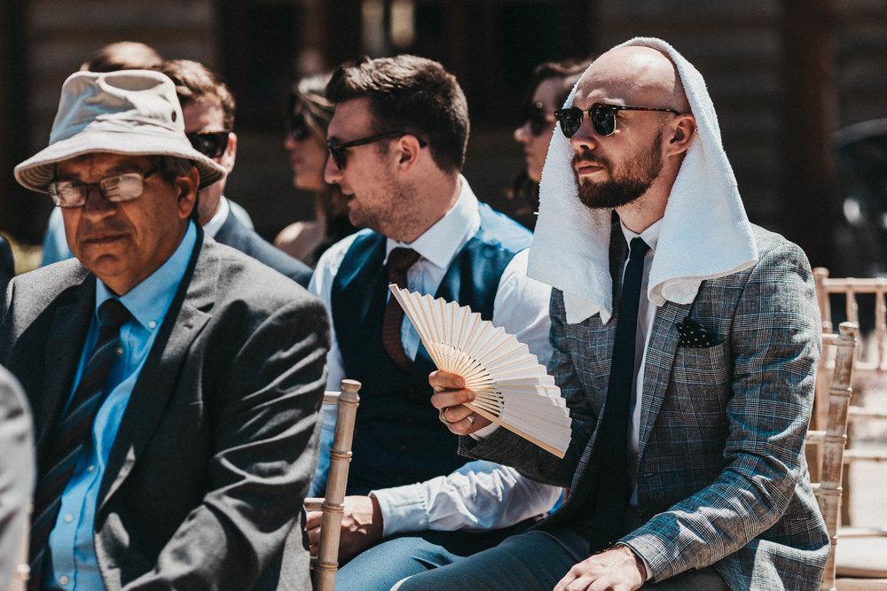 hot summer wedding outdoors
