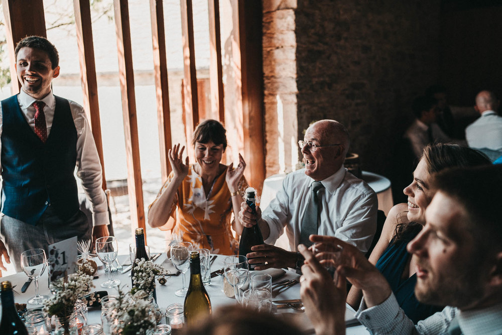 champagne opening at wedding