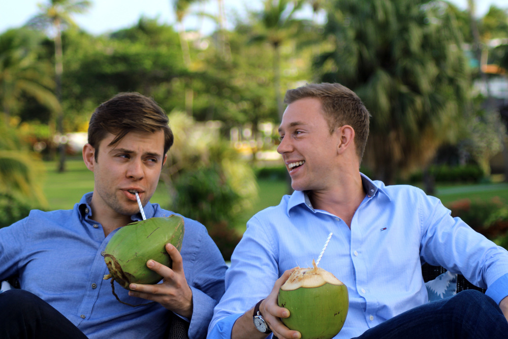 Charlie and Harry enjoy some fresh coconuts. Bobbie Garbutt & Poppy Roy ©
