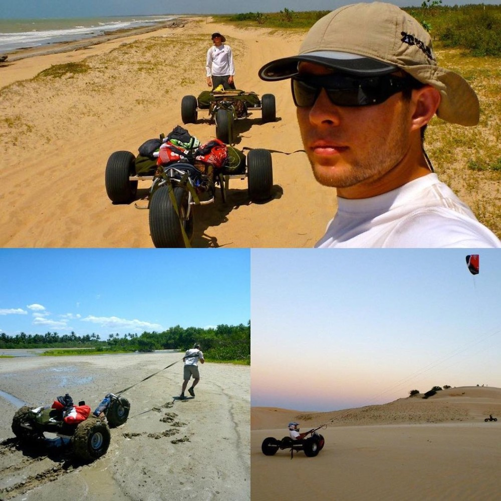 Charlie and Harry in Brazil on their Kite Buggy adventure 2011.