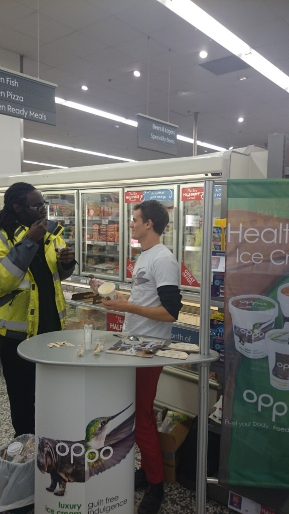 Oppo Ambassador samples healthy ice cream in Waitrose.