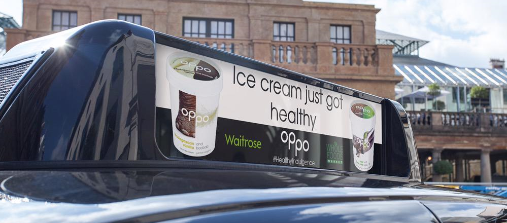 Healthy ice cream. Oppo ice cream in London black cabs.