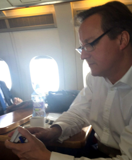 David Cameron tries healthy ice cream. Oppo Salted Caramel.