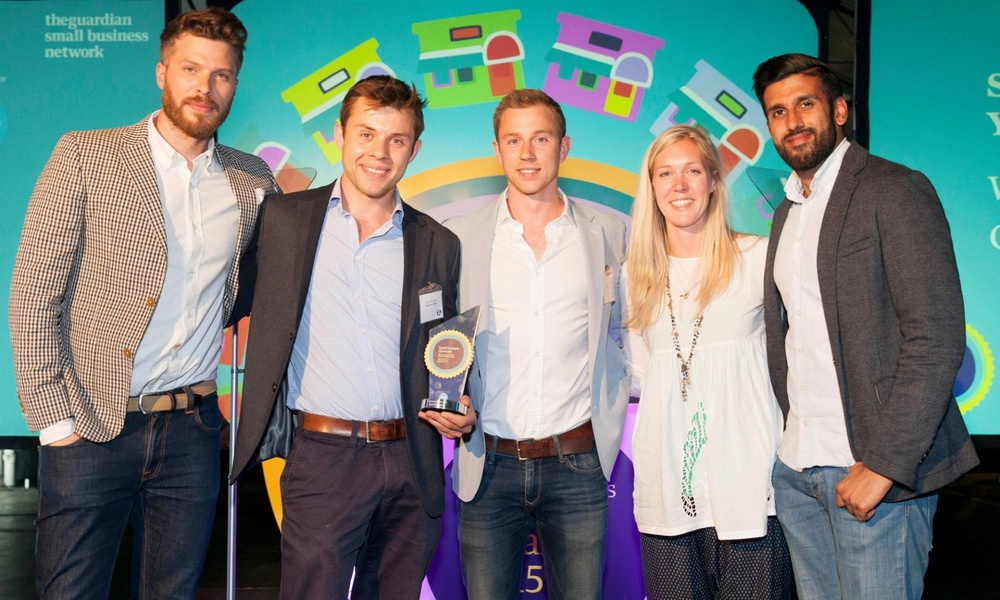 Oppo healthy ice cream Guardian Startup of the year 2015. Charlie and Harry collect award.