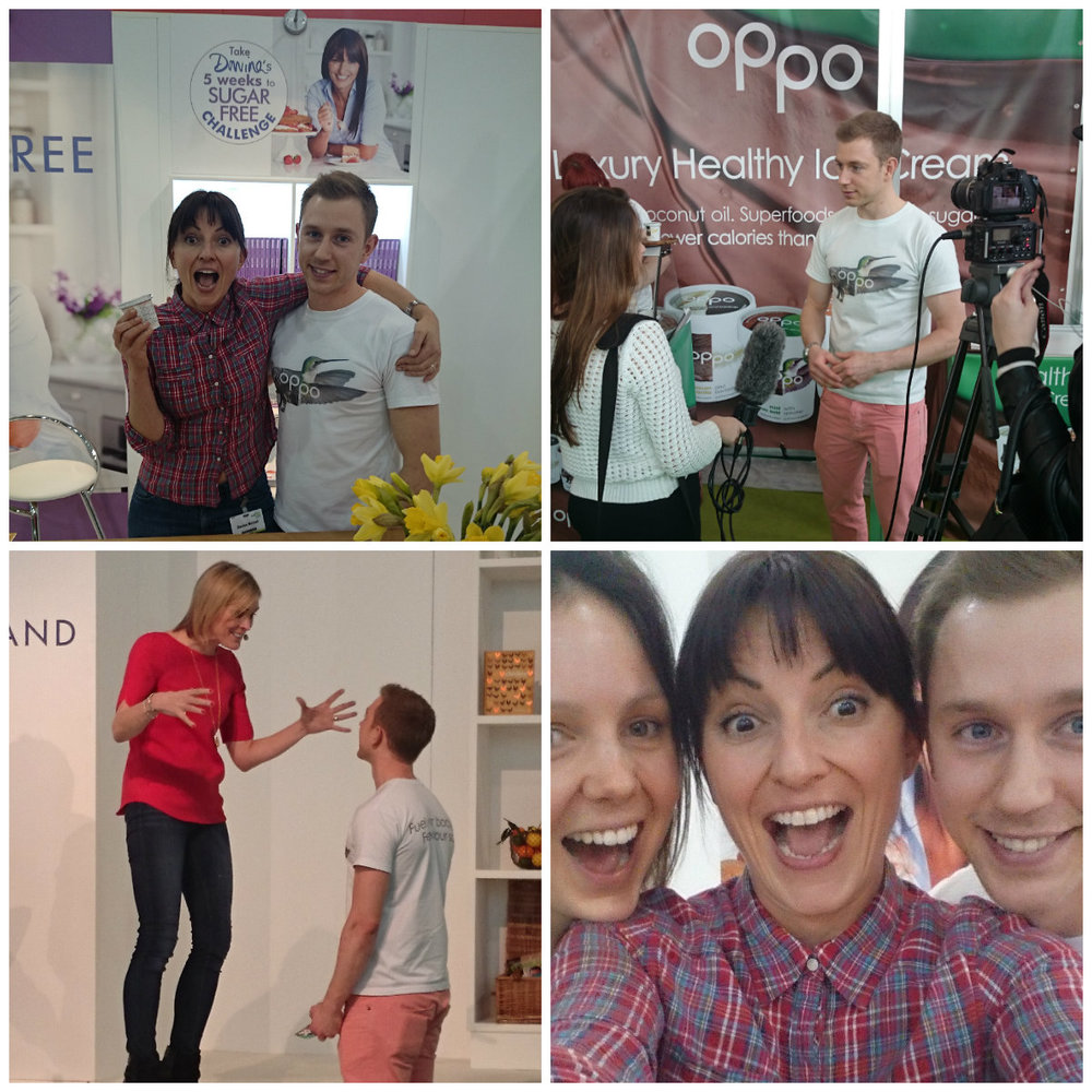 Oppo healthy ice cream at BBC Good Food Show 2015. Davina McCal is a big fan of Oppo!