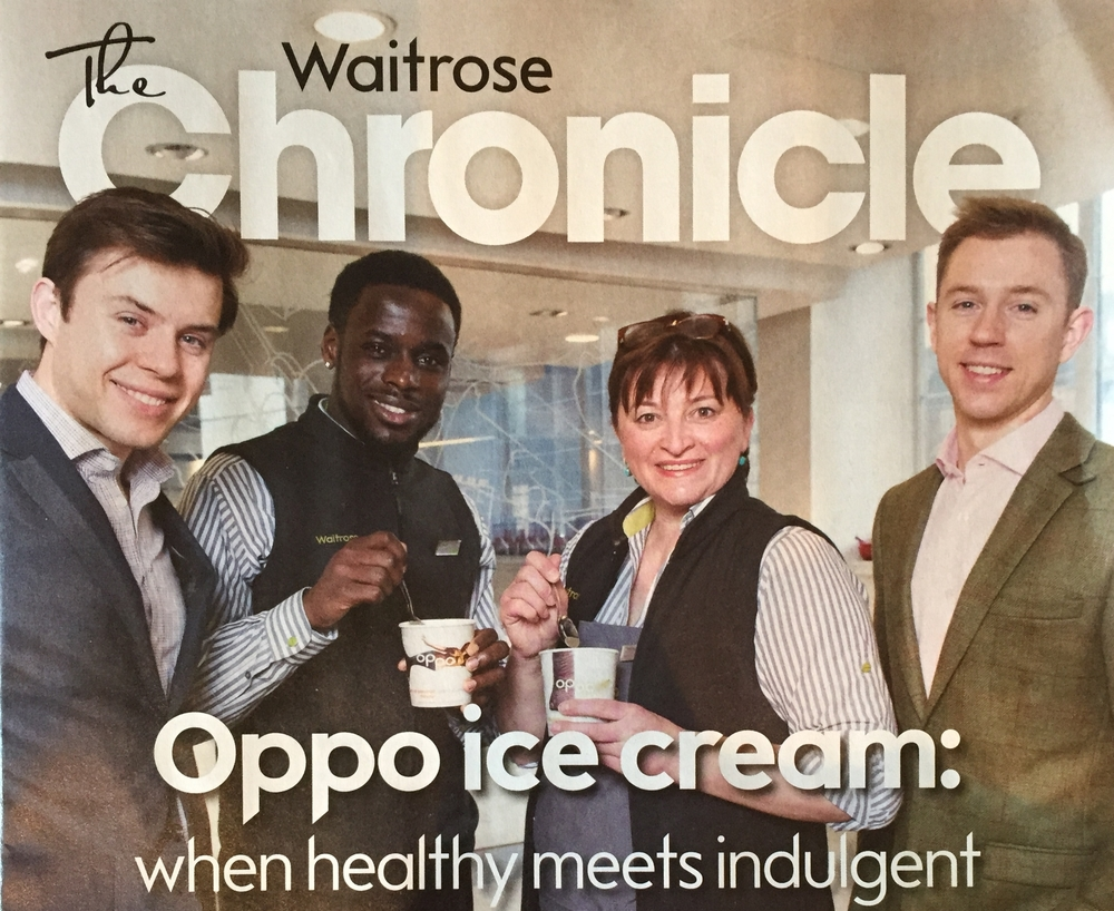 Oppo healthy ice cream on the cover of the The Waitrose Chronicle.
