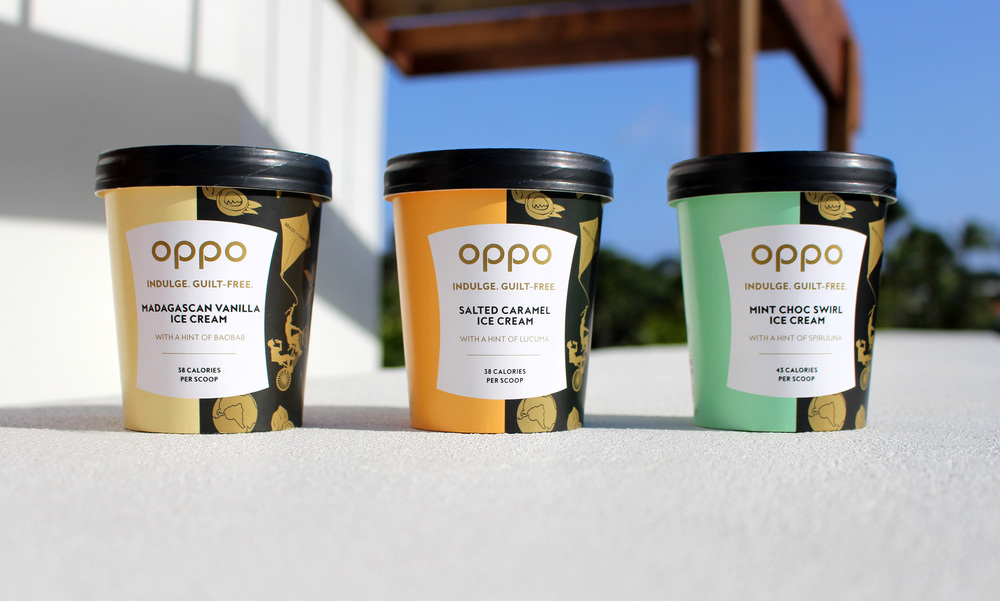 Oppo healthy ice cream new look. Left to Right: Madagascan Vanilla, Salted Caramel, and Mint Choc Swirl. Bobbie Garbutt & Poppy Roy ©