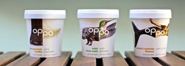 Oppo old brand. Left to right: Madagascan Vanilla, Mint Choc Swirl, and Salted Caramel.