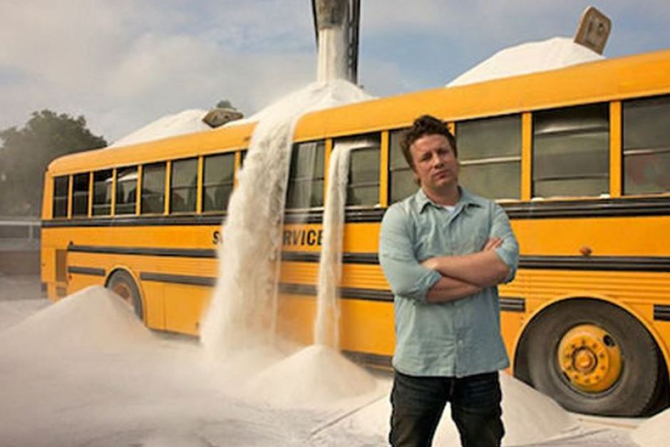 Jamie Oliver with sugar bus.