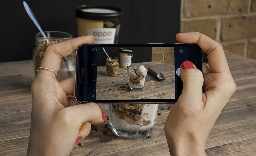 Photographing Oppo Ice cream