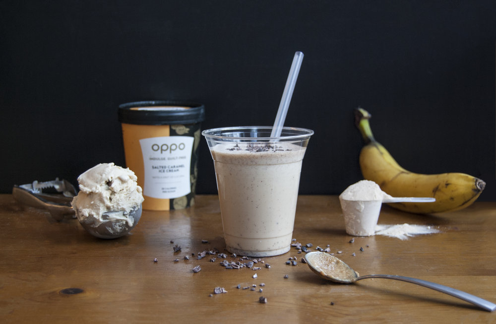 Oppo recipe: Peanut Butter Protein Shake with Oppo Salted Caramel Ice Cream
