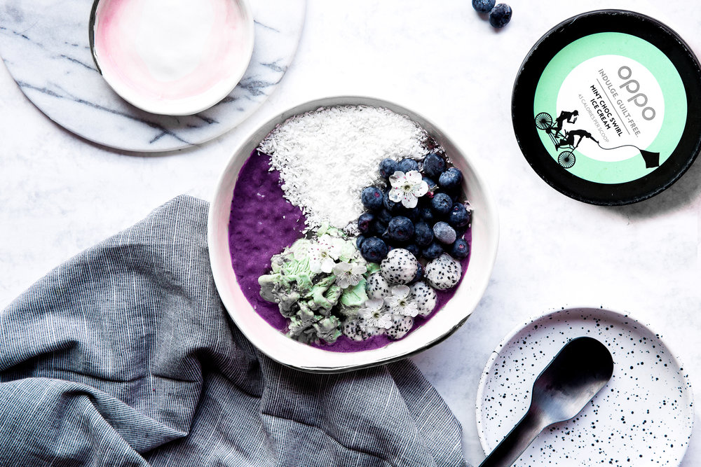 Acai berry bowl topped with Oppo Mint Choc Swirl ice cream