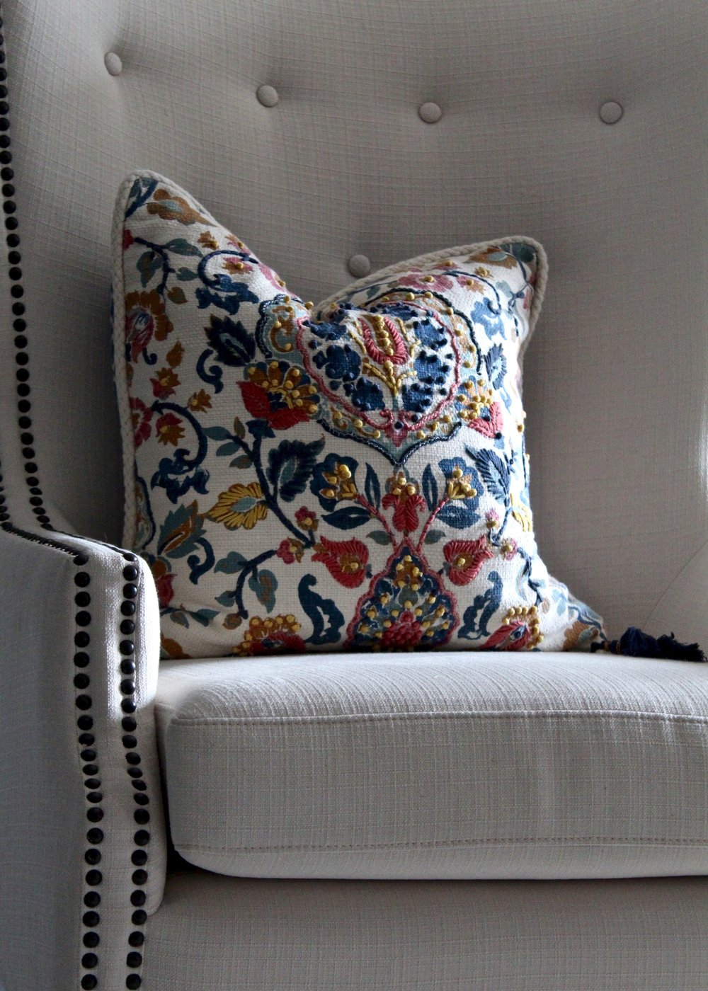 We found this bold toss pillow and loved how detailed the embroidery was. Down to the little tassel, I loved it. I have some future plans to incorporate some aspects of this pillow into other designs for P&W, too.
